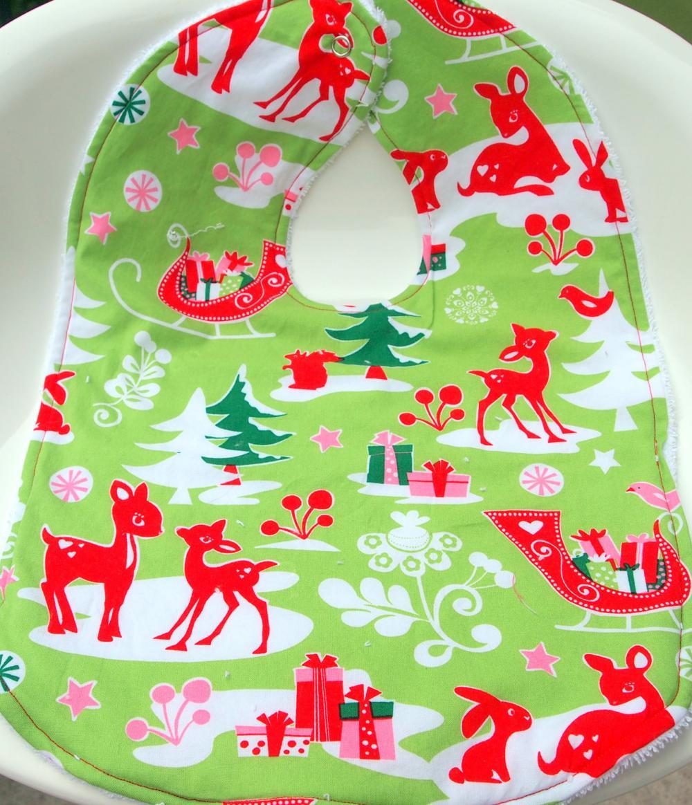 Christmas Terry cloth bib baby bib toddler bib