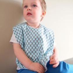 Baby Bib toddler boys blue oversize terry cloth snap amy butler